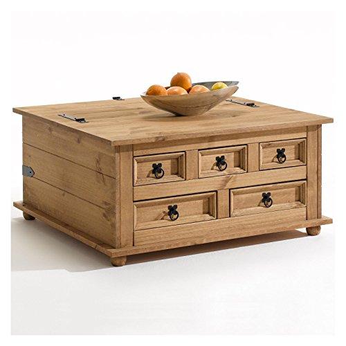 IDIMEX Mexico Möbel Truhentisch TEQUILA Couchtisch Truhe Wohnzimmertisch Beistelltisch im Mexiko Stil mit 5 Schubladen in natur