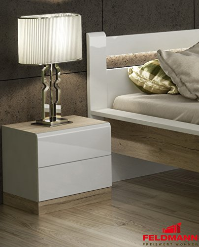 Nachtkonsole 2er Set Nachttisch mit Schubkästen 110026 weiß Hochglanz / eiche san remo