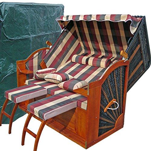 ostsee strandkorb xxxl rot gr n karo 2 bez ge. Black Bedroom Furniture Sets. Home Design Ideas