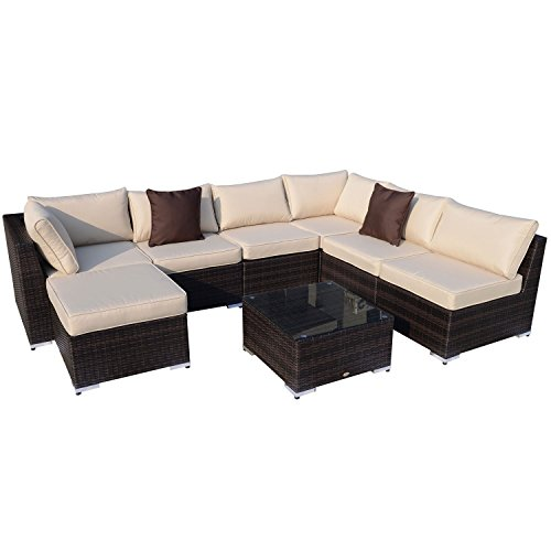 Outsunny Gartenmöbel 25 teilig Polyrattan Sofa Sitzgruppe Alu Rattan mix inklusive Kissen, braun