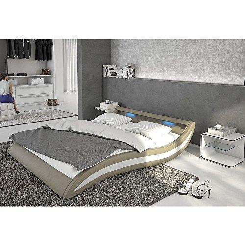 Polster-Bett 140x200 cm cappuccino-weiß aus Kunstleder mit blauer LED-Beleuchtung | Accentox | Das Kunst-Leder-Bett ist ein edles Designer-Bett | Doppel-Bett 140 cm x 200 cm mit Lattenrost in Leder-Optik, Made in EU
