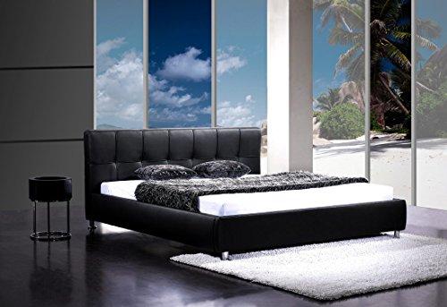 Polsterbett 180 x 200 cm Zarah in schwarz abgestepptes Designbett mit Chromfüßen