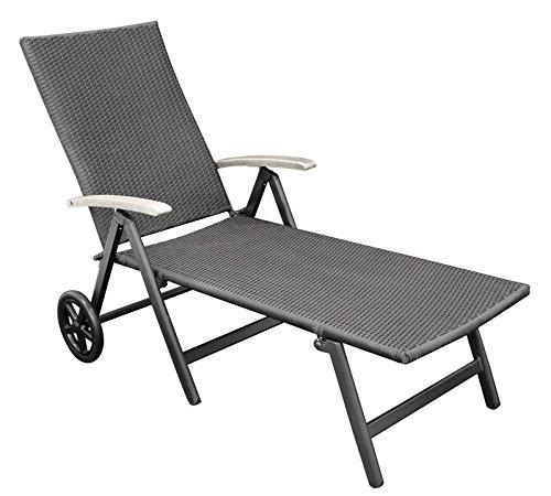 rollenliege polyrattan geflecht schwarz aluminiumgestell dunkelgrau armlehnen eukalyptus grau. Black Bedroom Furniture Sets. Home Design Ideas