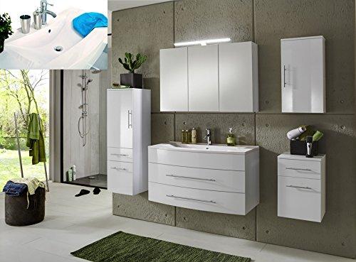 SAM® Badmöbel-Set Basel 5 teilig, hochglanz weiß, 100 cm, Mineralgussbecken, Softclose-Funktion, bestehend aus 1 x Spiegelschrank, 1 x Waschplatz, 1 x Hochschrank, 1 x Hängeschrank, 1 x Unterschrank