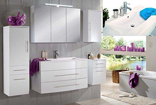 SAM® Badmöbel-Set Zürich, 100 cm, in Hochglanz weiß, 5tlg. Badezimmer mit Softclose-Funktion, 1 Waschplatz mit Mineralgussbecken weiß, 1 Spiegelschrank, 1 Hochschrank, 1 Unterschrank, 1 Hängeschrank