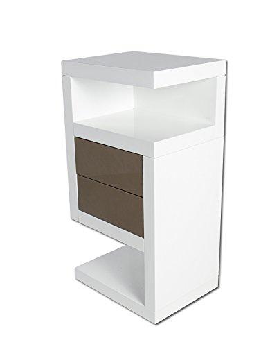 SAM® Boxspring Nachtkonsole Neomi Links weiß Hochglanz lackiert 40 cm breit rollbar zwei Schubladen