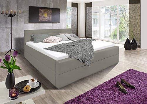 SAM® Polsterbett 180x200 cm, muddy, Bett mit gepolstertem, hohen Kopfteil, Boxspringbett-Optik [521688]