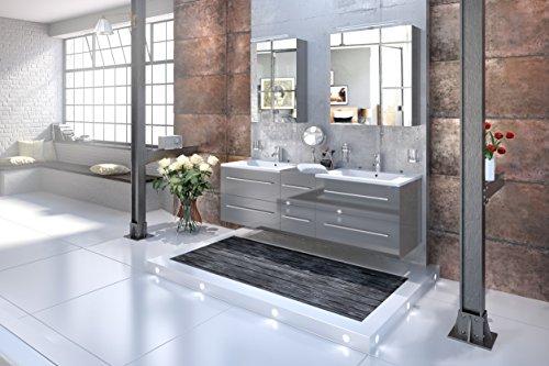 SAM® Design Badmöbel-Set Barcelona 3tlg, Hochglanz grau, 150 cm Breite, Schubladen mit Softclosefunktion, Badezimmer-Set bestehend aus 2 x Spiegelschrank, 1 x Doppelwaschplatz