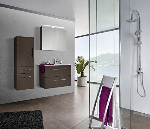 SAM® Design Badmöbel-Set Verena, 80 cm, in matter Trüffeleiche-Optik, 3tlg. Designer Badezimmer mit Softclose-Funktion, 1 Waschplatz, 1 Spiegelschrank, 1 Hochschrank
