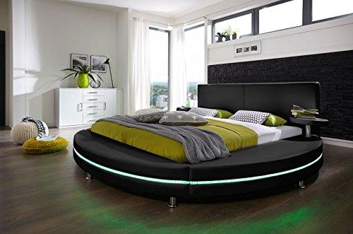 SAM Design Polster- Rundbett 180x200 cm Gallo, Bett in schwarz, LED-Beleuchtung, Lederimitat, als Wasserbett verwendbar