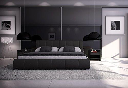 SAM® Design Premium Polster Bett Innocent 200 x 220 cm Latina in schwarz Polsterbett modernes Design hochwertige Verarbeitung