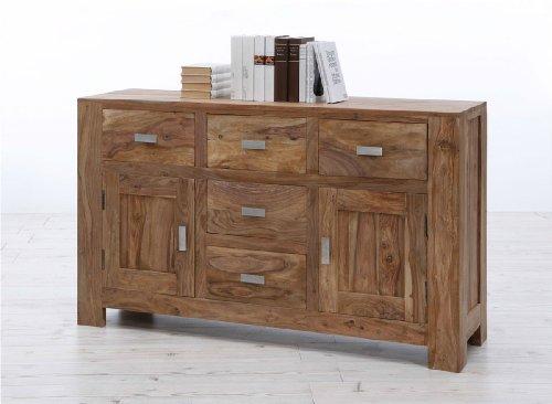 SAM® Kleines Sideboard Palisander Sheesham Vollholz 135 cm mit 5 Schubkästen und 2 Türen Metallgriffe