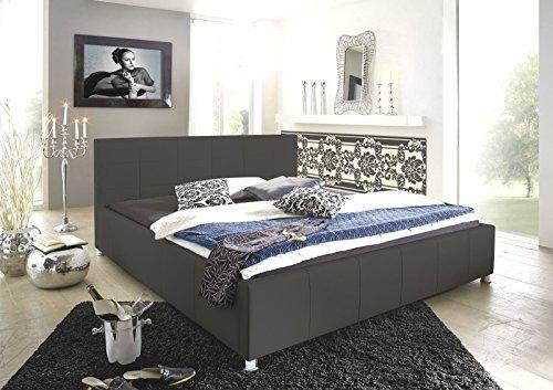 SAM Design Polsterbett 200x200 cm Katja, grau, Bett aus Kunstleder, abgestepptes Kopfteil, stilvolle Chromfüße