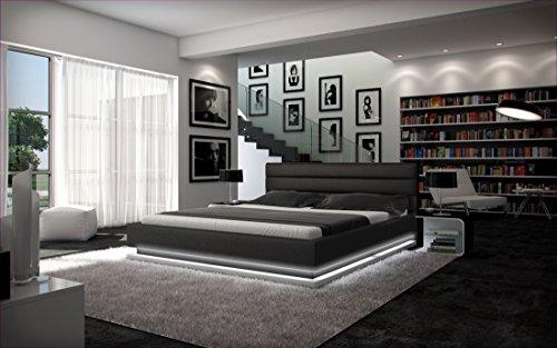 sam polsterbett bett ripani in schwarz 140 x 200 cm bettkasten mit beleuchtung kopfteil mit. Black Bedroom Furniture Sets. Home Design Ideas