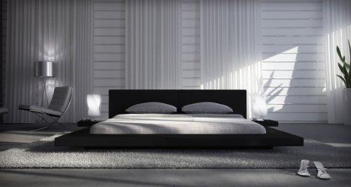 SAM® Polsterbett Black Pau in schwarz 180 x 200 cm inklusiv 2 Nachttischablagen modernes Design Wasserbett geeignet