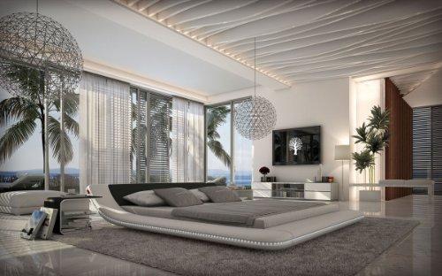 SAM® Polsterbett CUSTO Innocent 160 x 200 cm weiß/schwarz LED geschwungen Seitenteil Beleuchtung pflegeleicht