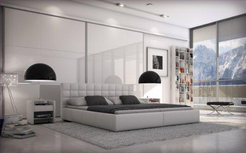 SAM® Polsterbett Innocent Miso 140 x 200 cm weiß Kopfteil im modernen abgesteppten Design Wasserbett geeignet