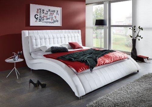 SAM® Polsterbett Modum in weiß 180 x 200 cm chromfarbene Füße Kopfteil gepolstert abgestepptes Design Wasserbett geeignet Bett