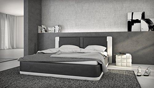 SAM® Polsterbett Rebecca 140 x 200 cm in schwarz weiß ohne Soundsystem (wahlweise auch mit Soundsystem) in einem abgesteppten Design aus SAM® - Lederimitat