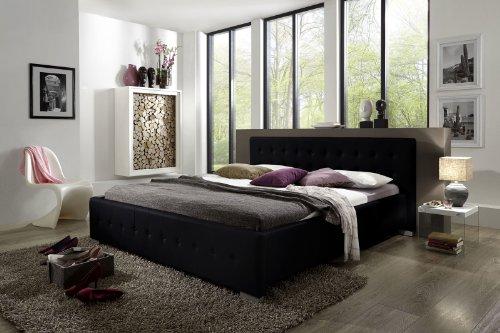 SAM Polsterbett 180x200 cm Rimini, Bett in schwarz, abgestepptes modernes Design, Wasserbett geeignet