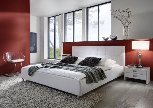 SAM Polsterbett 200x200 cm Zarah in weiß, pflegeleichtes Design-Bett mit Kunstlederbezug, abgestepptes Kopfteil