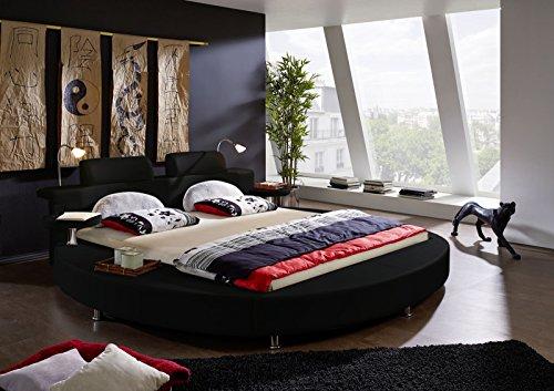 SAM® Rundbett Carlos schwarz inkl. Beleuchtung 180 x 200 cm Polsterbett Handarbeit mit Nachttischablagen