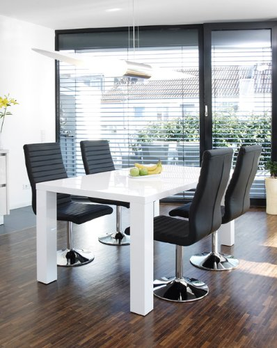 SalesFever Essgruppe Tisch 140x90 cm weiß mit 4 Stühlen Lio aus Kunstleder Luke Stühle schwarz