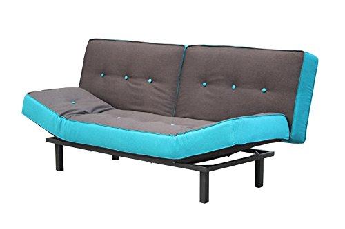 Schlafsofa Funktionssofa Schlafcouch Sofa Schlaffunktion blau braun Chromfüße