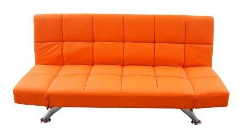 Schlafsofa Kunstleder 3er Sitzer orange - Klappcouch Rückenteil und Armlehnen verstellbar