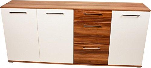 Sideboard, Anrichte, Kommode, Design-Sideboard, weiß/Walnuss-Nachbildung