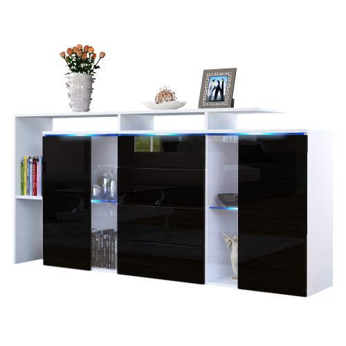 sideboard kommode lissabon korpus in wei matt front in schwarz hochglanz m bel24. Black Bedroom Furniture Sets. Home Design Ideas