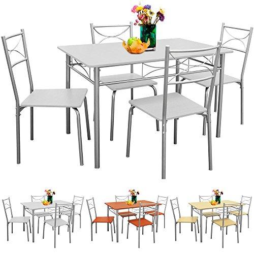 Deuba® Sitzgruppe 5 tlg. Weiß | für Esszimmer, Küche & Balkon | 4 Stühle & 1 Tisch [ Farbauswahl ] - Tischgruppe Essgruppe Esstischgruppe Balkonmöbel Sitzgruppe