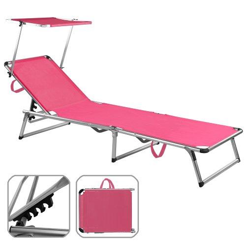 Deuba Sonnenliege Sylt | mit Sonnenschutz | Alu | 120kg Tragkraft | 200cm | Kunststoffgewebe | Verstellbar | Freizeitliege Gartenliege Liegestuhl Dreibeinliege Strandliege Liege | Farbwahl | Pink |