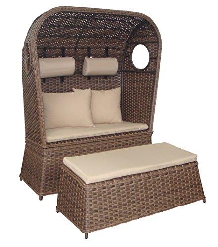 Strandkorb Strandhaube NOSTALGIE Modell Sylt 2-Sitzer Korb mit Fußbank (Beige)