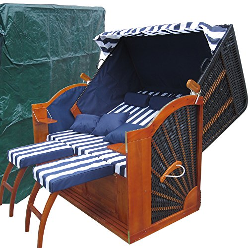 xinro volllieger sylt strandkorb ostsee xxxl blau wei gestreift schwarzes polyrattan gs. Black Bedroom Furniture Sets. Home Design Ideas