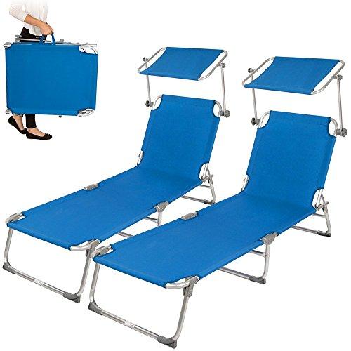TecTake 2x Aluminium Gartenliege Sonnenliege klappbar mit Sonnendach 190cm blau