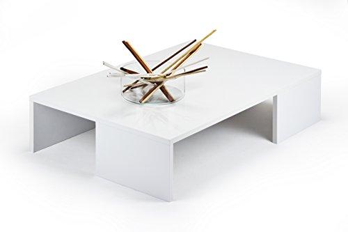 MOBILIFIVER Rachele Couchtisch, Holz, Weiß glänzend, 90x 60x 21cm