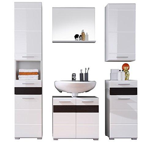 Trendteam Badezimmer 5-teilige Set Kombination Mezzo, 160 x 182 x 34 cm in Weiß Hochglanz, Absetzung Eiche Melinga Rillenstruktur Dunkel Dekor mit viel Stauraum