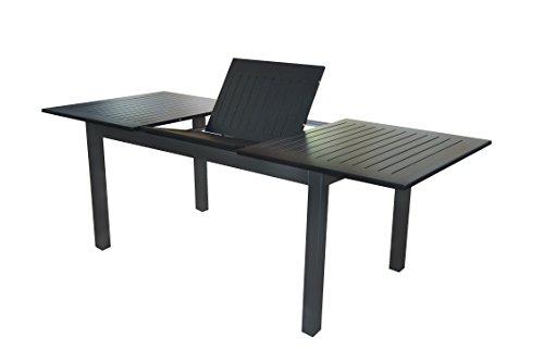 """Voll Aluminium Auszieh-Gartentisch """"Detroit"""" 150/210 x 90 cm mit Synchronauszug von Doppler in anthrazit mit schwarzer Platte"""