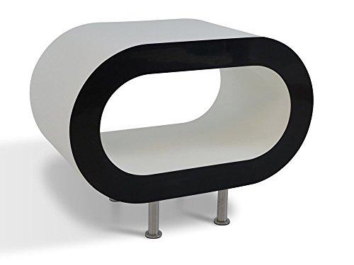 Weiß Glänzend Mit Schwarzen Seiten Reifen Couchtisch / TV-Ständer In Verschiedenen Größen
