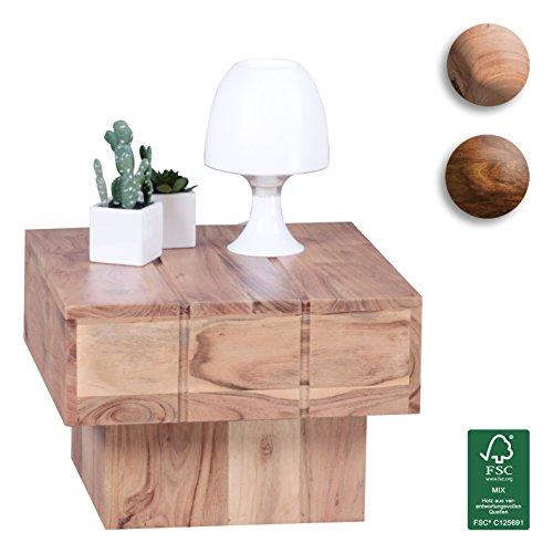 Wohnling Couchtisch Viereckig Massivholz Akazie Design Wohnzimmertisch 44 x 44 cm Quadrat 30 cm Beistelltisch Cube Modern quadratisch Natur Holz Landhaus-Stil ausgefallen indisch Braun Wohnzimmermöbel