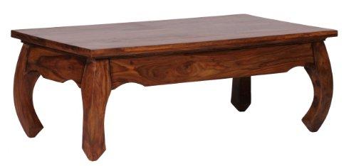 Wohnling Couchtisch Opium Massiv-Holz Sheesham 110 cm breit Wohnzimmer-Tisch Design dunkel-braun Landhaus-Stil Beistelltisch Natur-Produkt Wohnzimmermöbel modern Massivholzmöbel Echtholz rechteckig