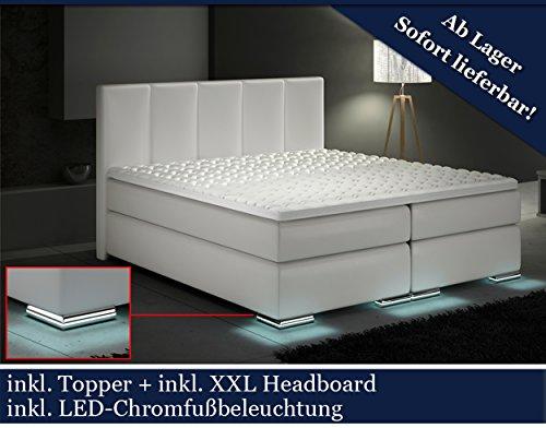 XXL Boxspringbett Designer Boxspring Bett LED (Weiß, 200x200)