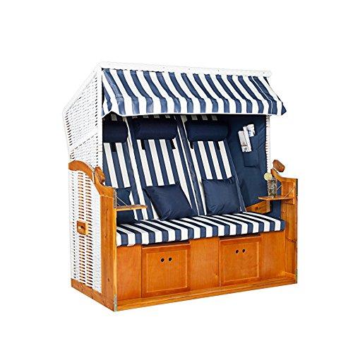 XXL Strandkorb Premium Volllieger Gartenliege BALTIC DELUXE weiß blau / Streifen 2 Designs Garten