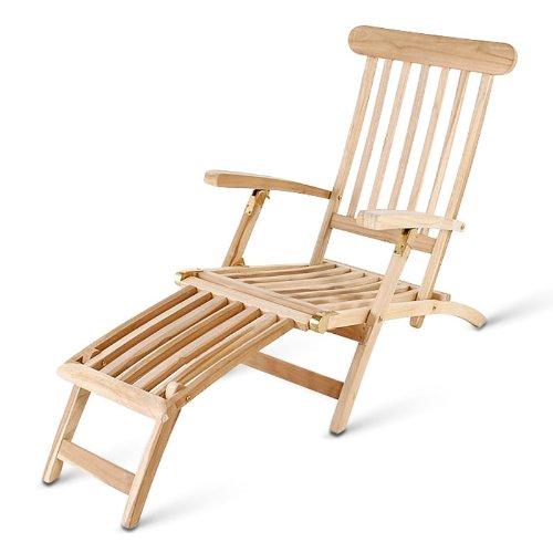 XXS® Teak Deckchair Sonnenliege Puccon, aus Teakholz, verstellbar, Handarbeit, Liegekomfort, naturbelassen, Oberfläche mehrfach geschliffen
