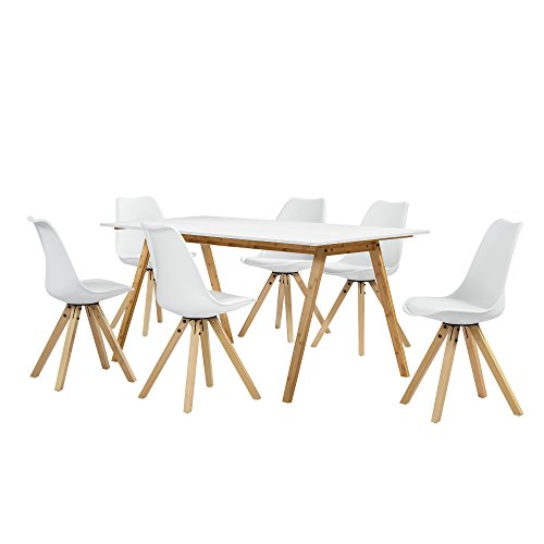 [en.casa] Esstisch Bambus weiß mit 6 Stühlen weiß gepolstert 180x80cm Esszimmer Essgruppe Küche