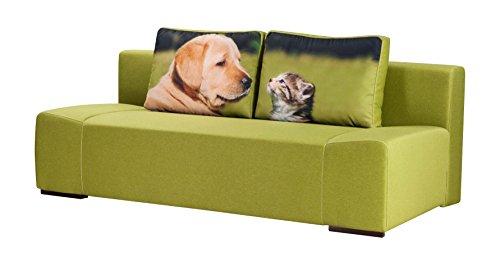 mein Sofa NE-006 3 Sitzer, Schlafsofa Liegefläche, 200 x 140 cm, Federkern, grün