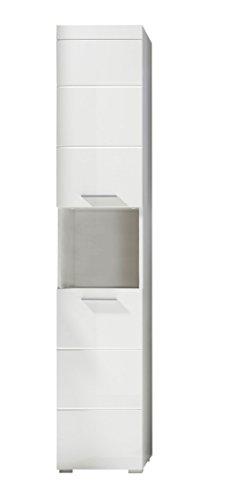 Trendteam 1393-103-01 Badezimmer Hochschrank Schrank Amanda, 37 x 190 x 31 cm in Weiß Hochglanz mit offenen Fach und pflegeleichten Tiefzieh-Hochglanzfronten