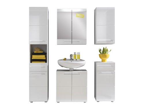 Trendteam 1327-903-01 Badezimmer 5-teilige Set Kombination Bora, 170 x 180 x 34 cm in Weiß Hochglanz mit viel Stauraum