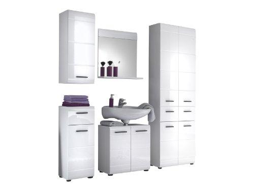 trendteam Badezimmer 5-teilige Set Kombination Skin Gloss, 200 x 182 x 31 cm in Weiß Hochglanz mit viel Stauraum und pflegeleichten Tiefzieh-Hochglanzfronten